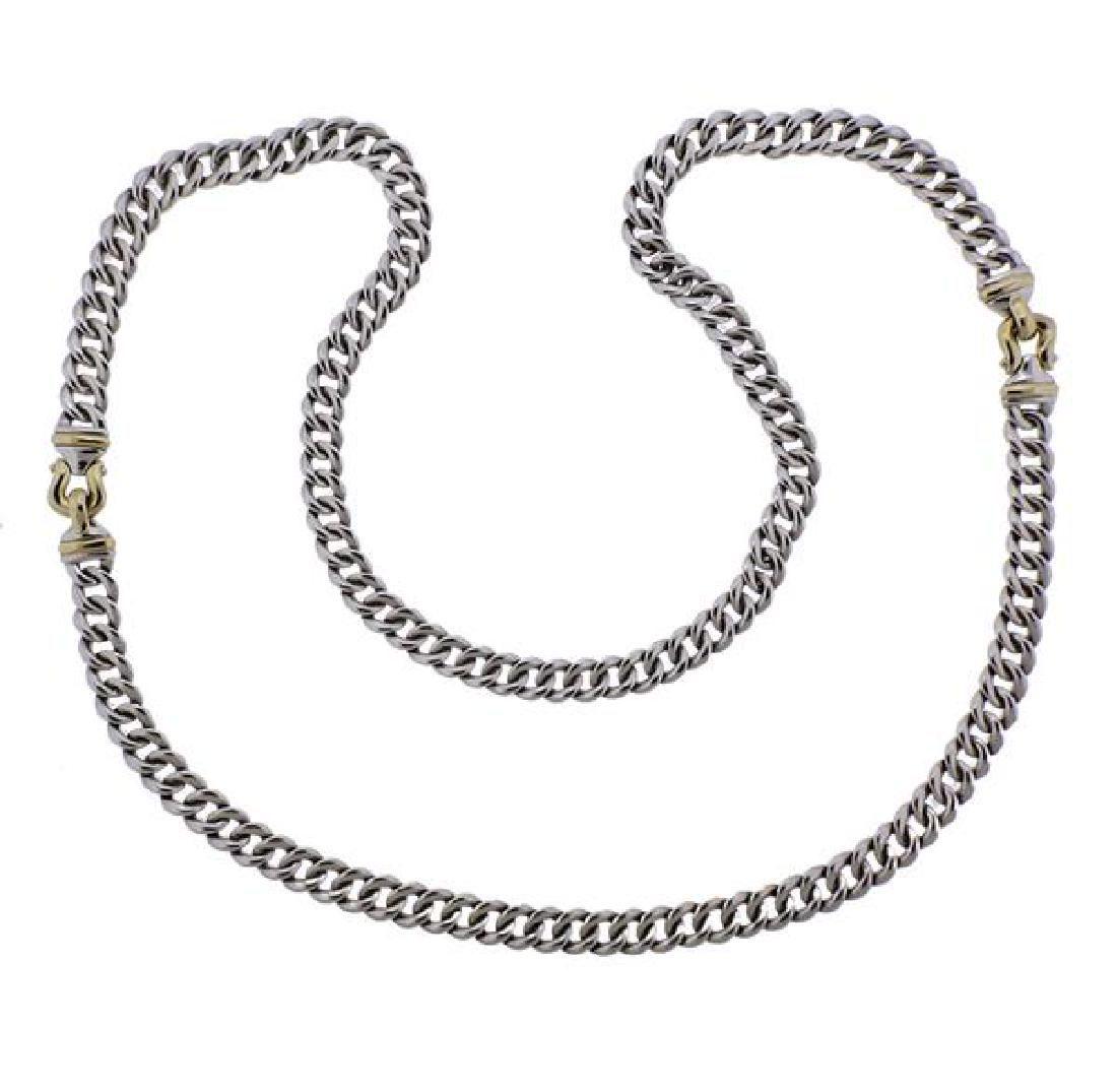 David Yurman 14K Gold Sterling Buckle Chain Necklace