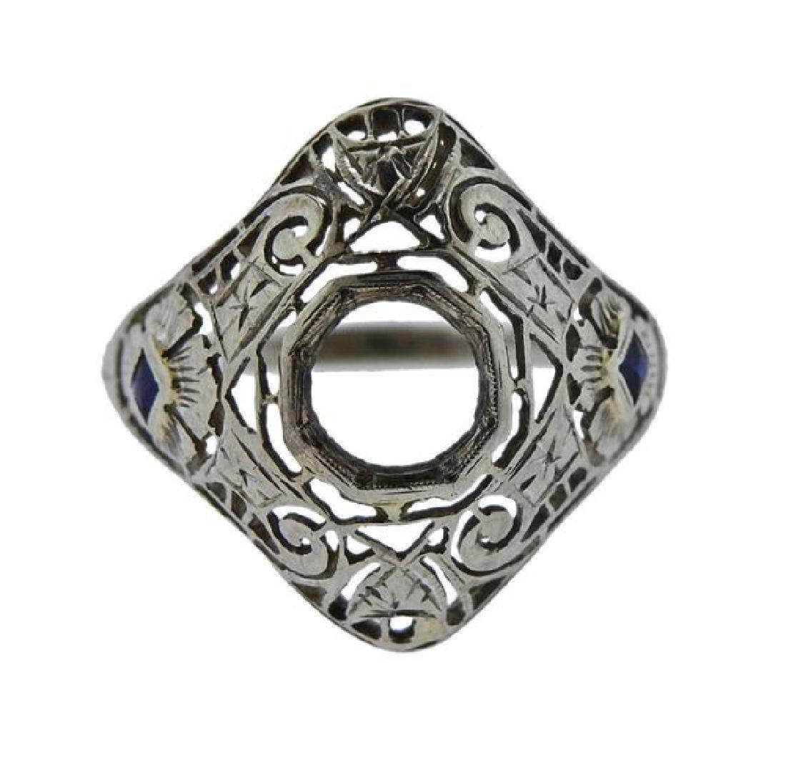 Art Deco Filigree 18K Gold Blue Stone Ring Mounting