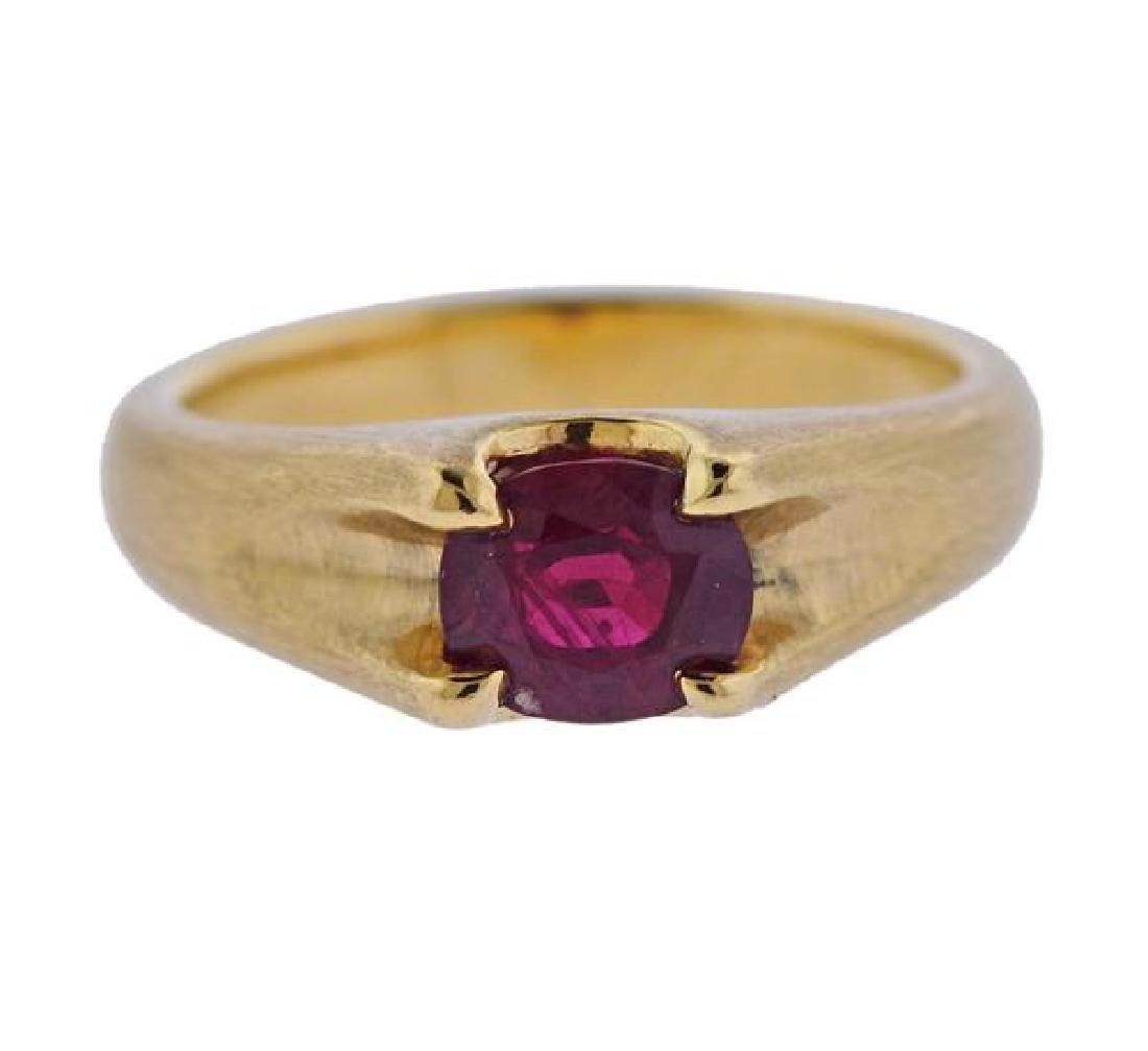 Certified 1.51ct Burma Ruby 18k Gold Ring