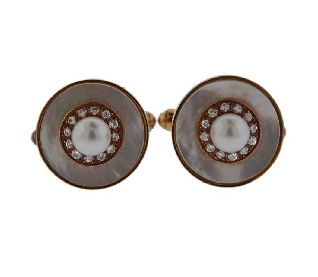 14k Gold Mother of Pearl Diamond Cufflinks