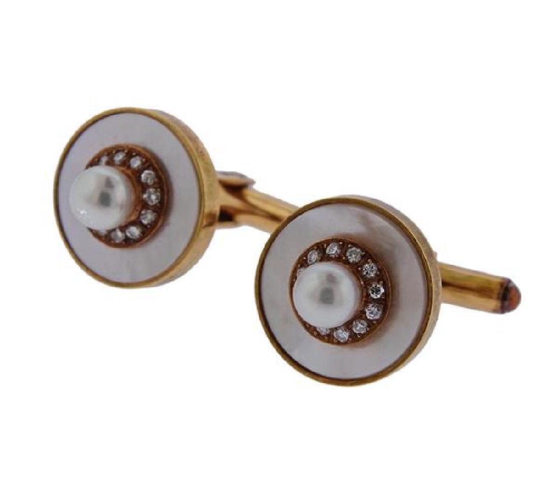 14k Gold Mother of Pearl Diamond Cufflinks - 2