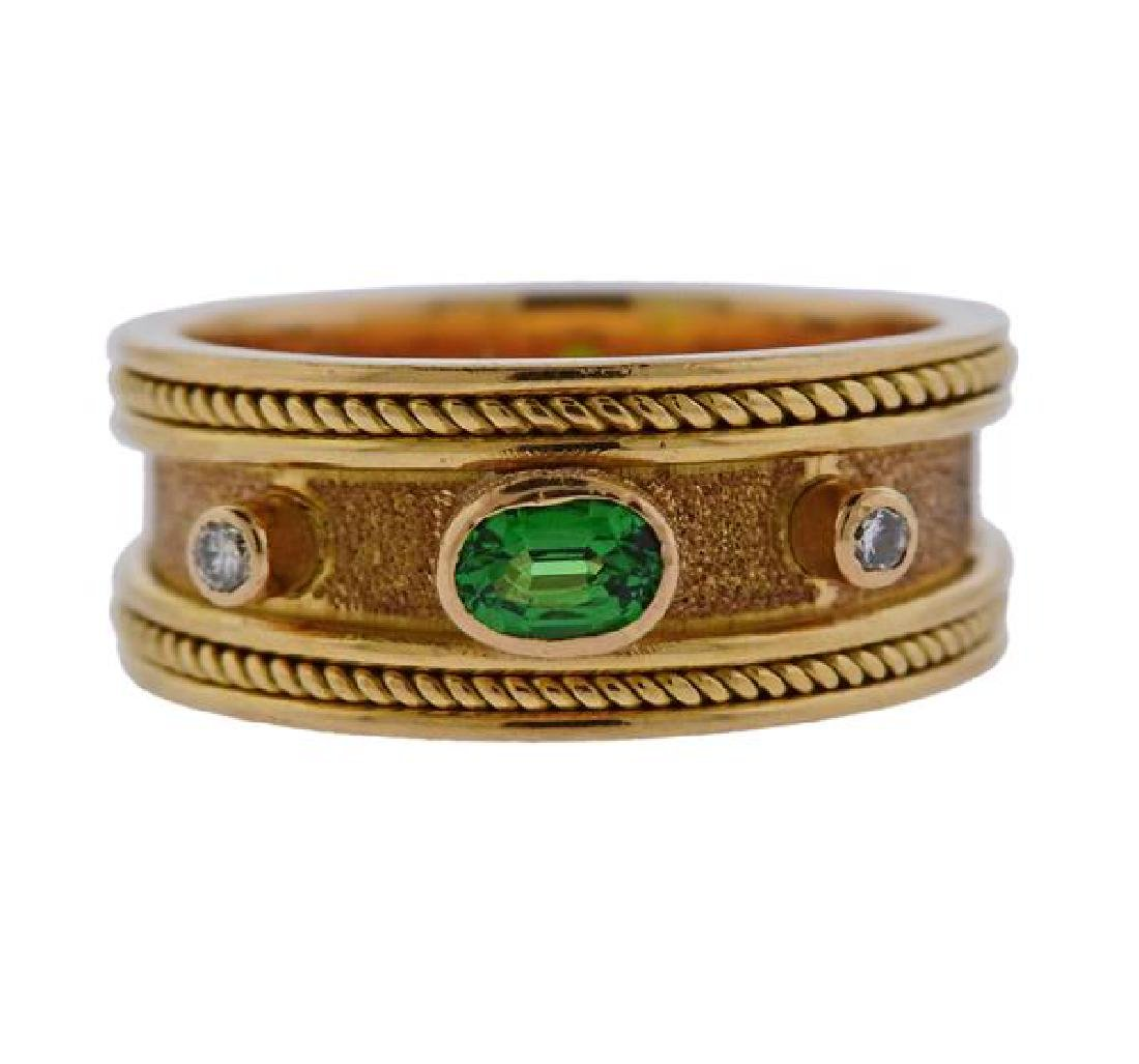 18k Gold Diamond Green Stone Band Ring