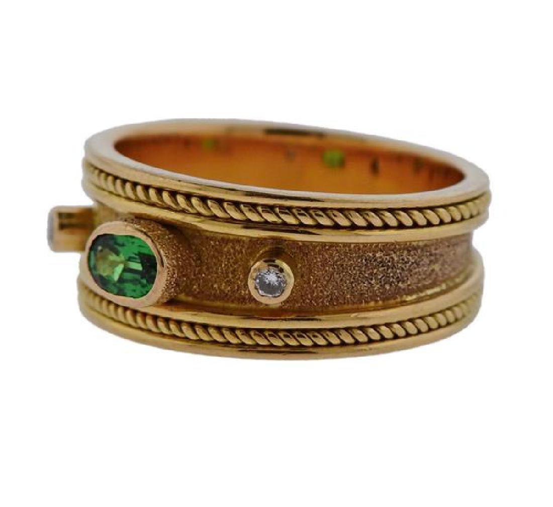 18k Gold Diamond Green Stone Band Ring - 2