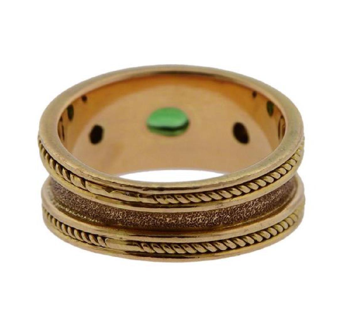 18k Gold Diamond Green Stone Band Ring - 3