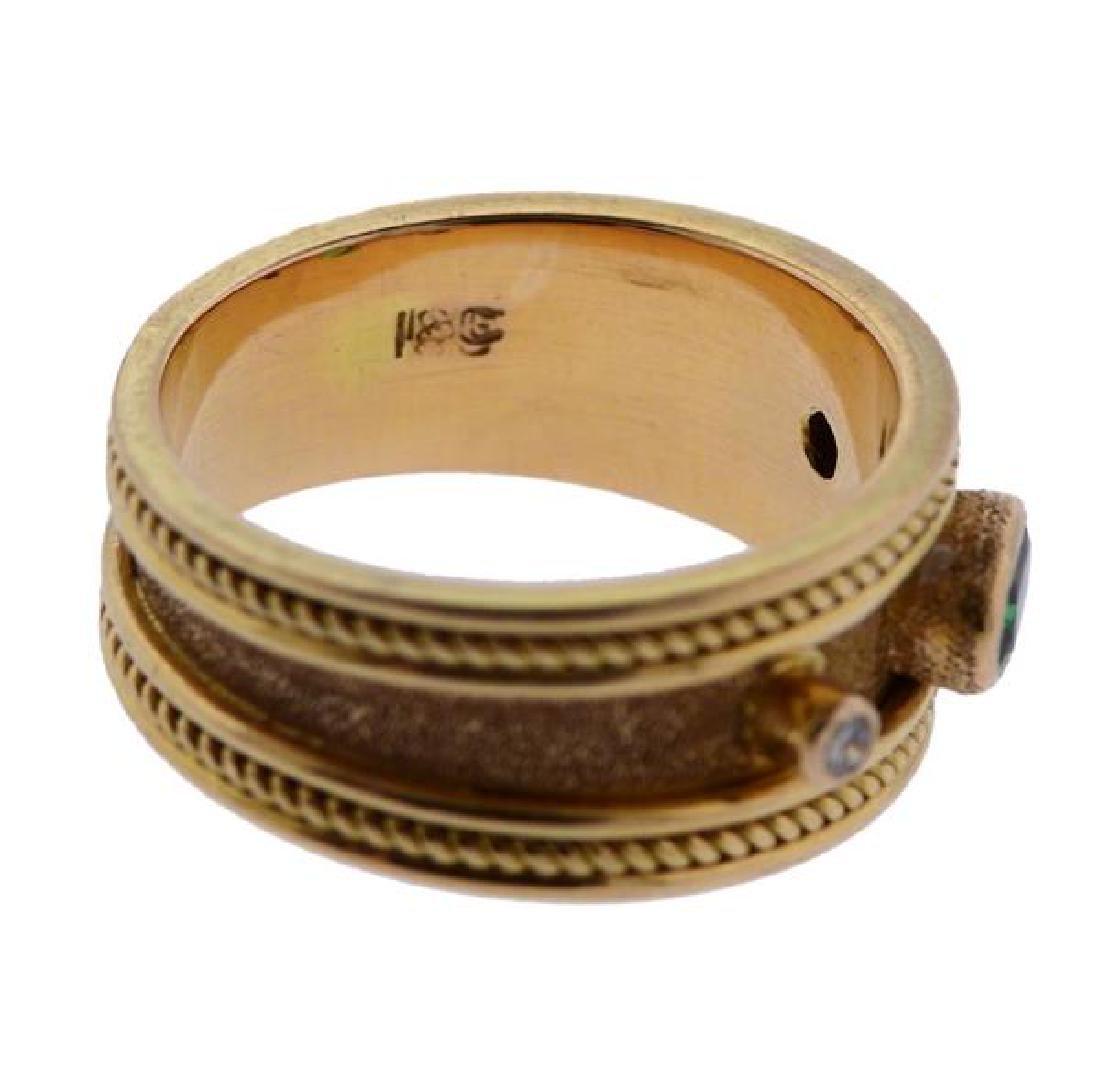 18k Gold Diamond Green Stone Band Ring - 4