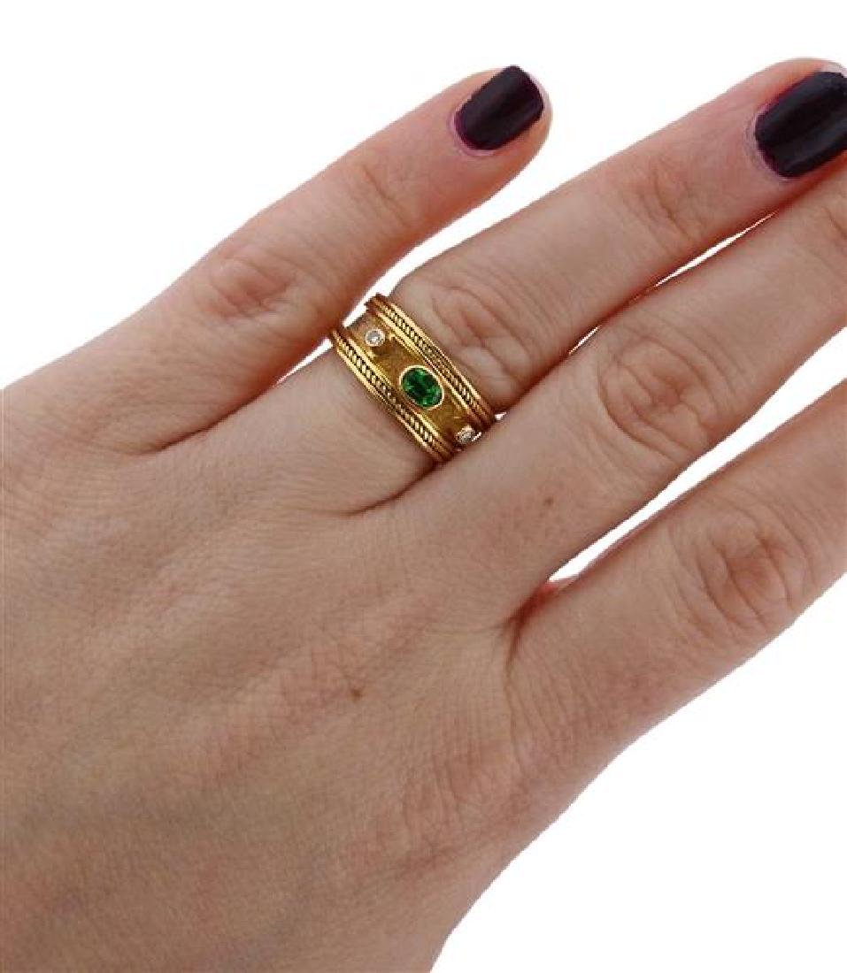 18k Gold Diamond Green Stone Band Ring - 5