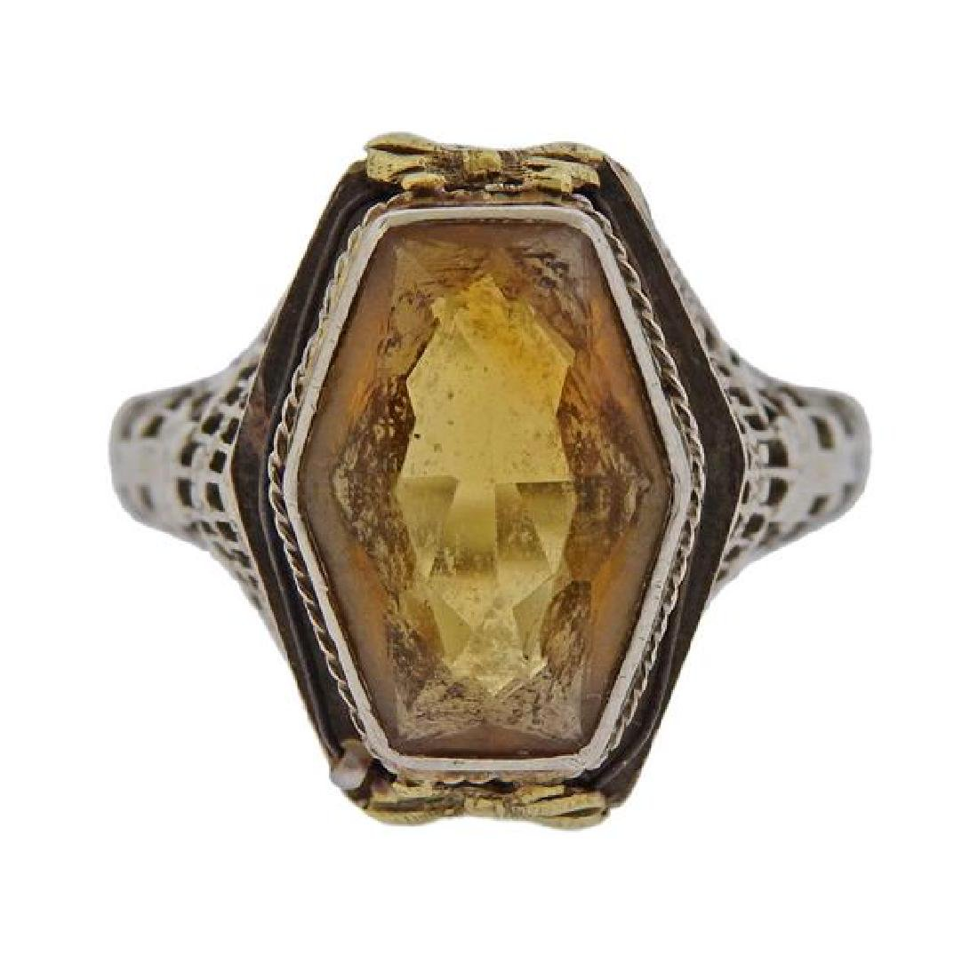 Art Deco Filigree 14K Gold Yellow Stone Ring