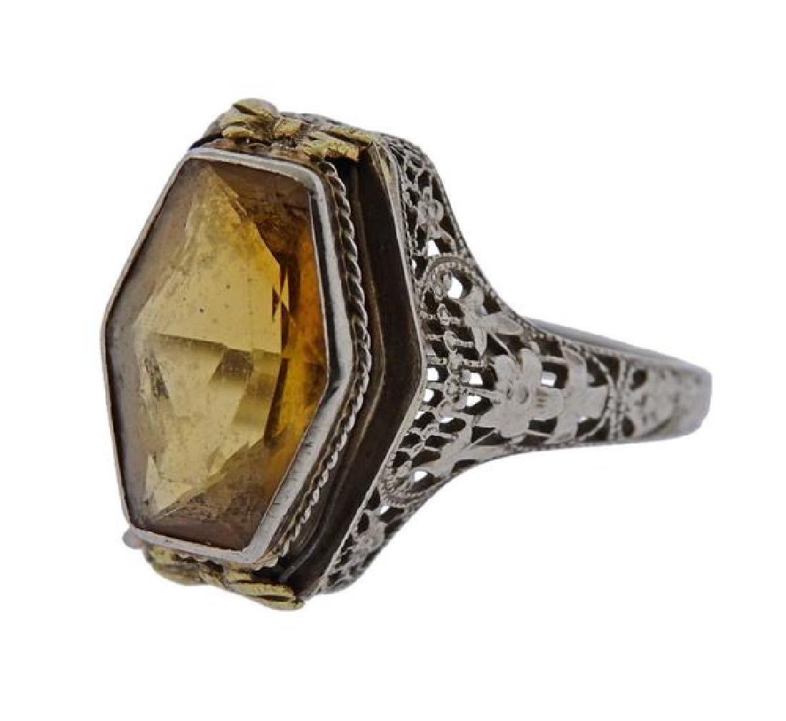 Art Deco Filigree 14K Gold Yellow Stone Ring - 2