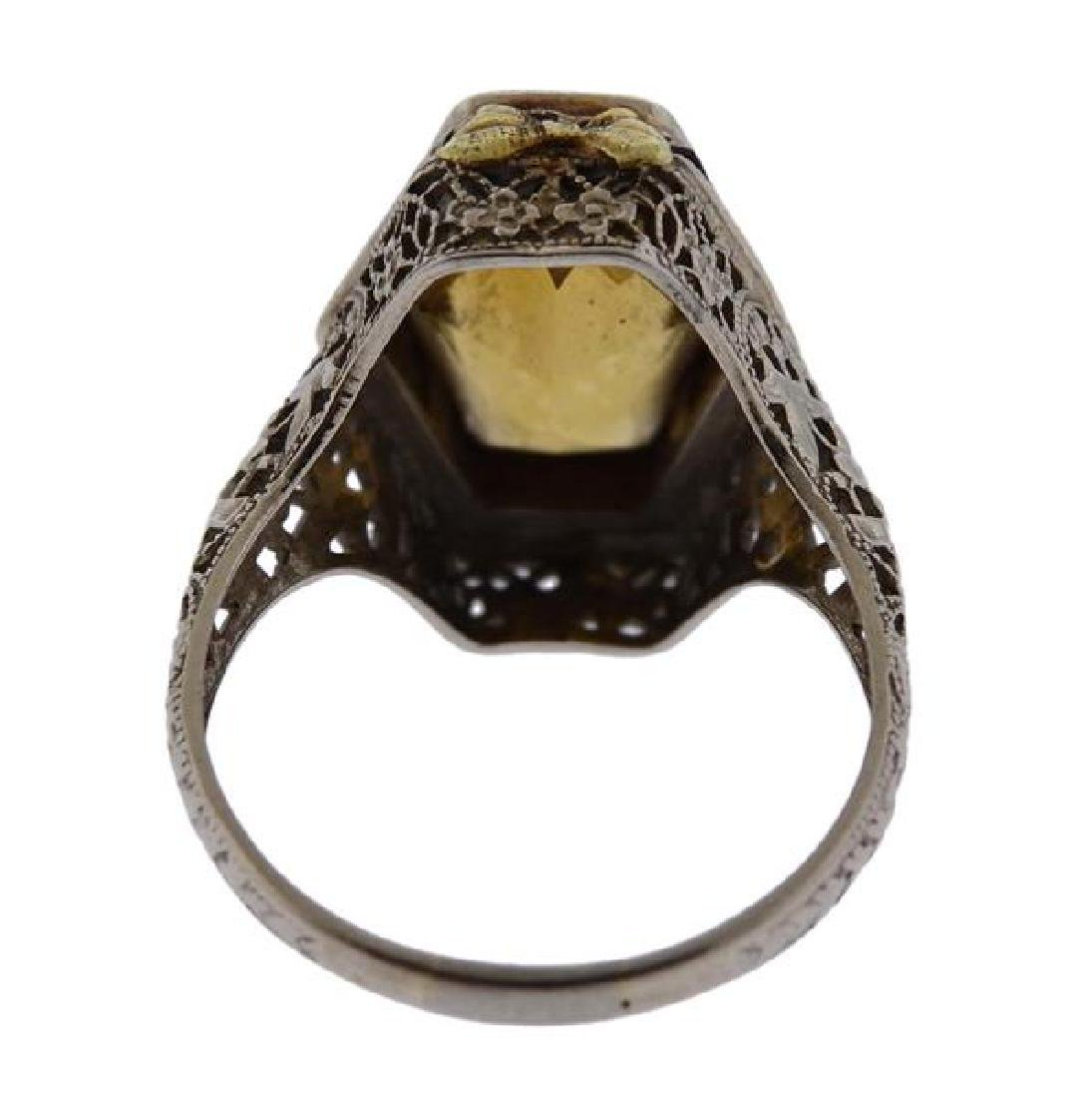 Art Deco Filigree 14K Gold Yellow Stone Ring - 3