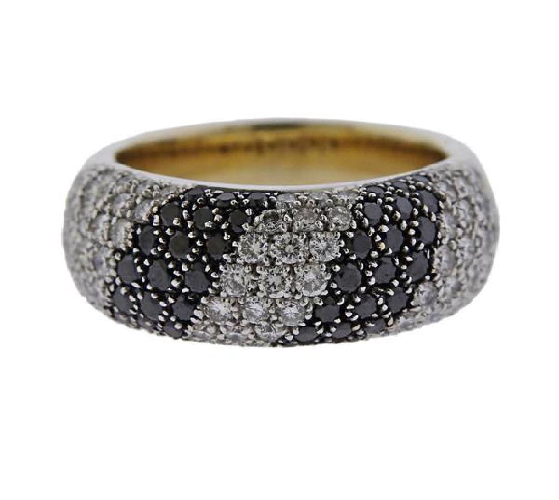 18K Gold Black White Diamond Band Ring