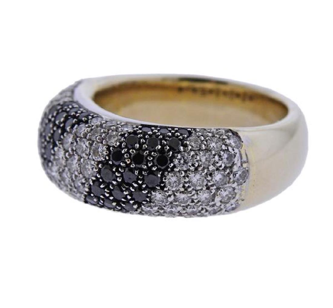 18K Gold Black White Diamond Band Ring - 2