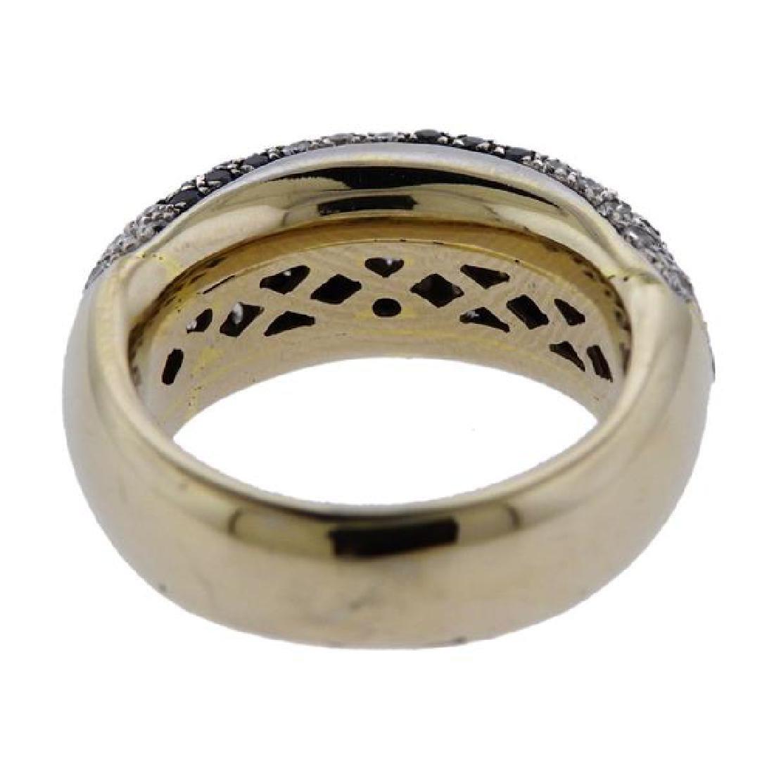 18K Gold Black White Diamond Band Ring - 3