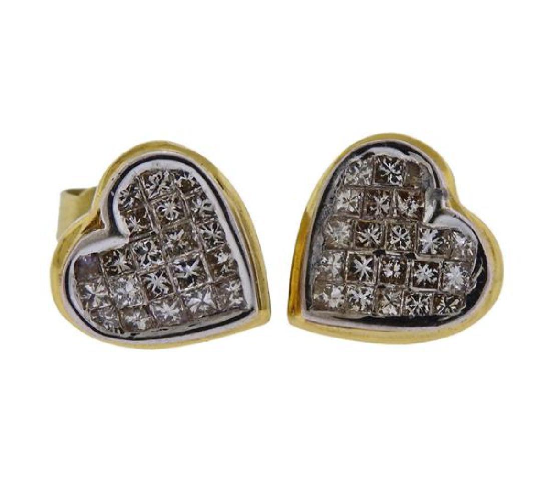 18K Gold Diamond Heart Stud Earrings