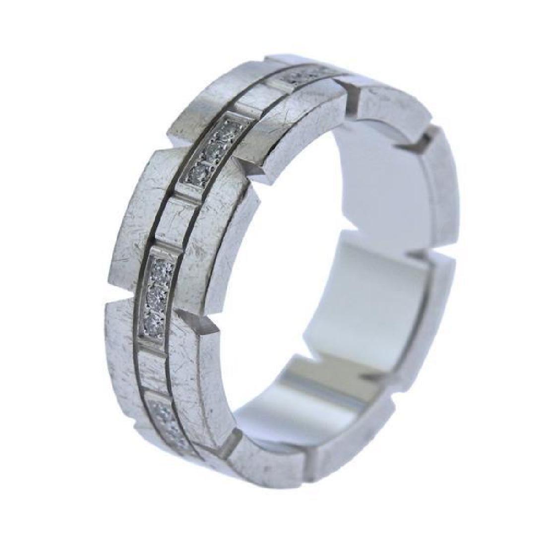 Cartier Tank Francaise 18K Gold Diamond Band Ring - 3