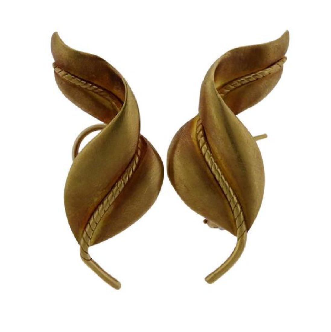 Tiffany & Co 18K Gold Twisted Leaf Motif Earrings