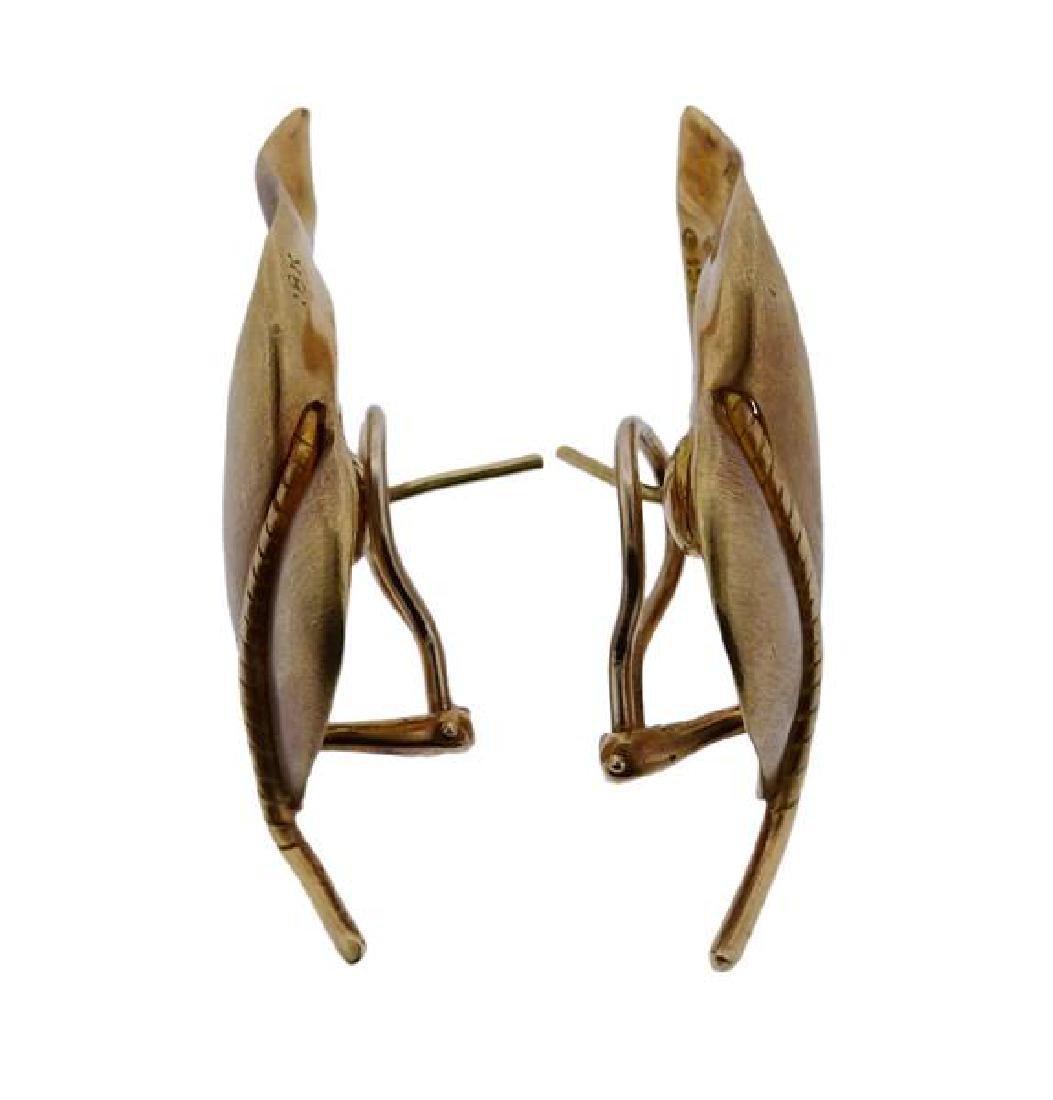 Tiffany & Co 18K Gold Twisted Leaf Motif Earrings - 2
