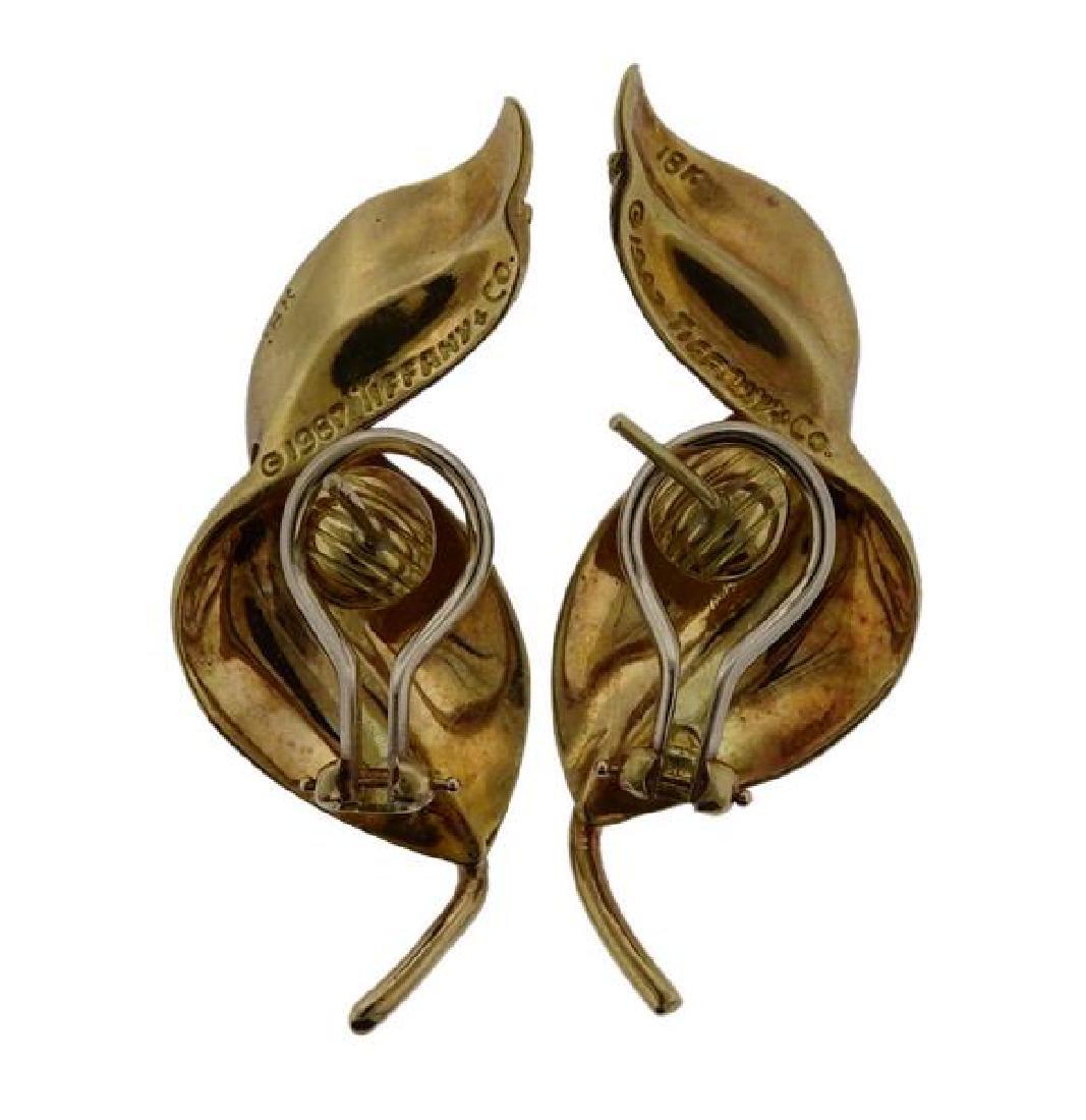 Tiffany & Co 18K Gold Twisted Leaf Motif Earrings - 3