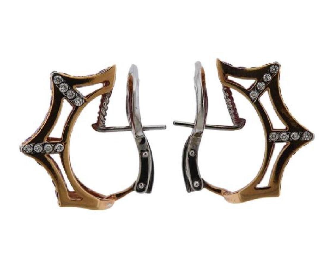 18K Gold Diamond Gemstone Earrings - 2