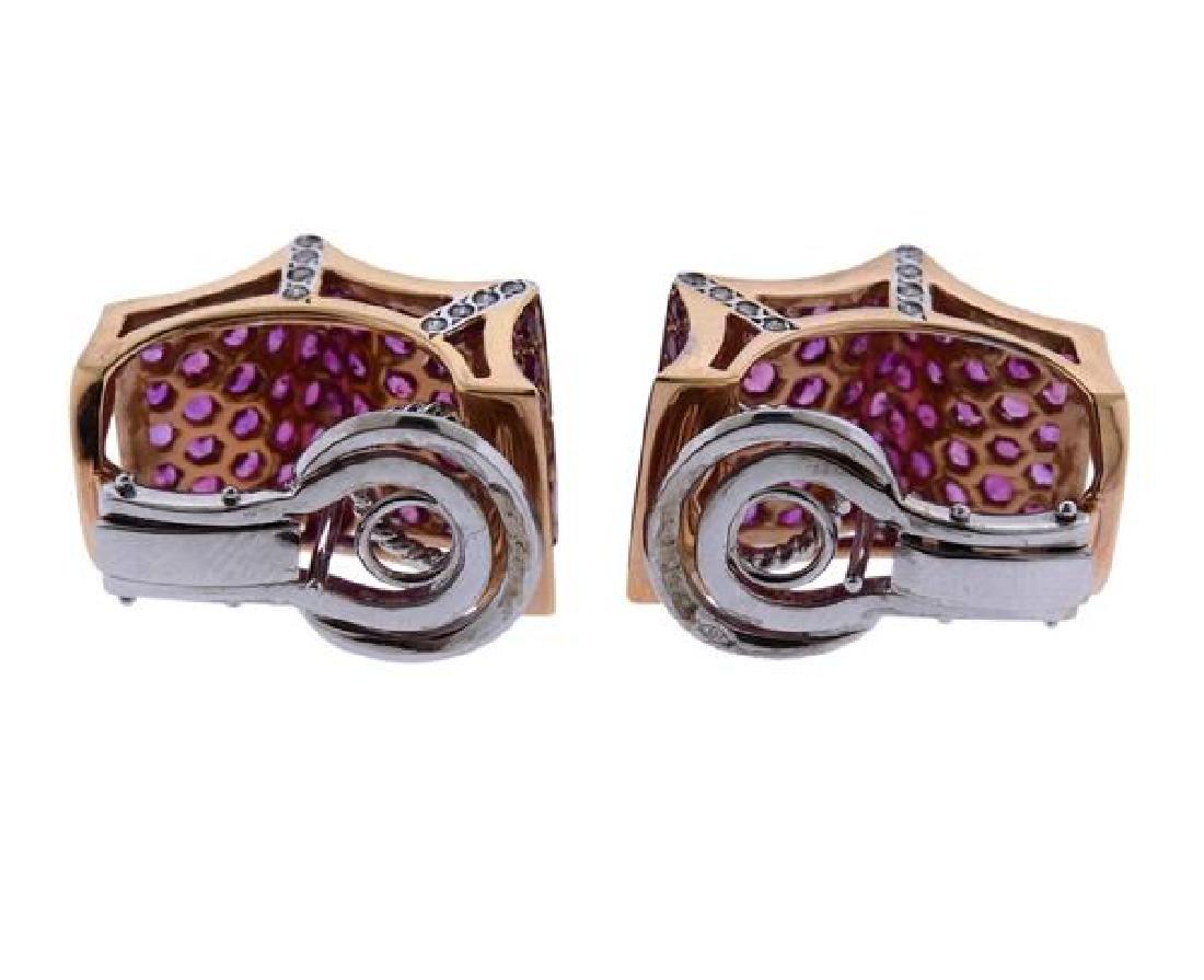 18K Gold Diamond Gemstone Earrings - 3