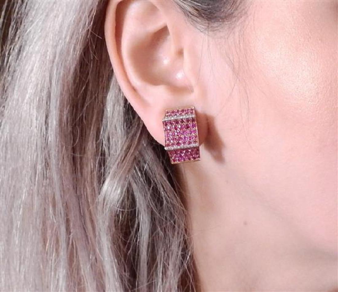 18K Gold Diamond Gemstone Earrings - 4