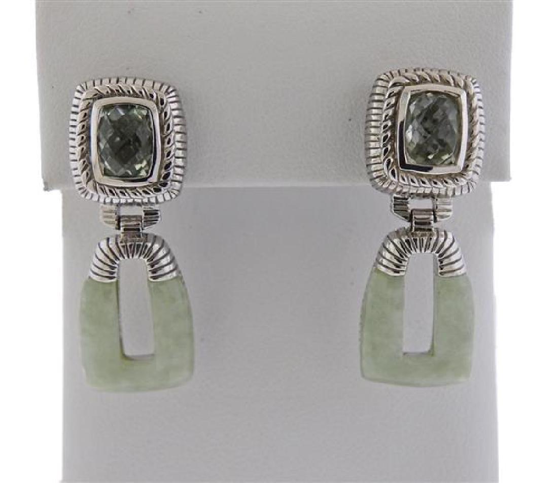 Judith Ripka Sterling Jade Blue Stone Drop Earrings