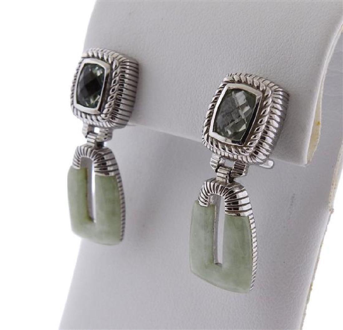 Judith Ripka Sterling Jade Blue Stone Drop Earrings - 2