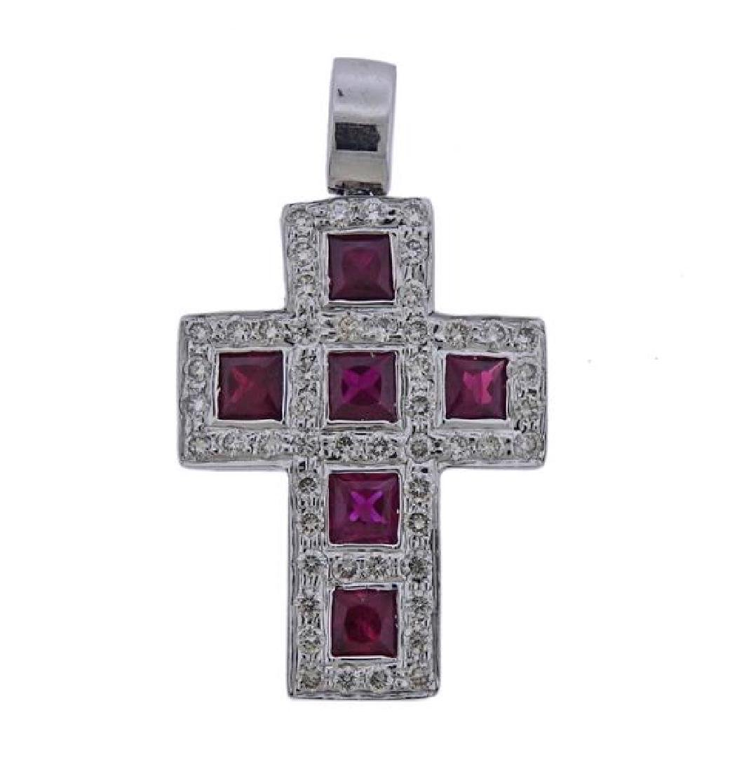 18k Gold Diamond Ruby Cross Pendant