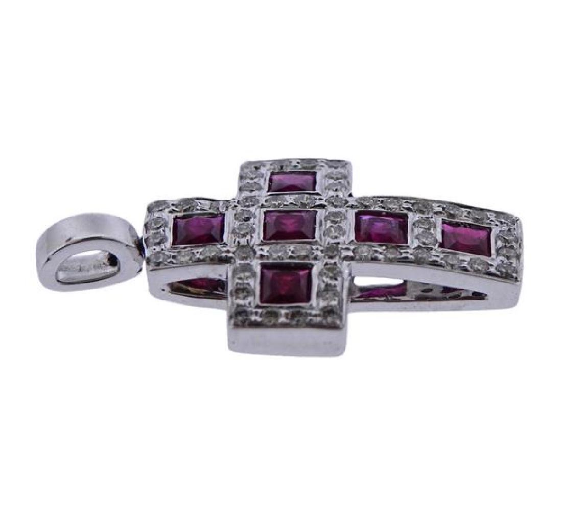18k Gold Diamond Ruby Cross Pendant - 2