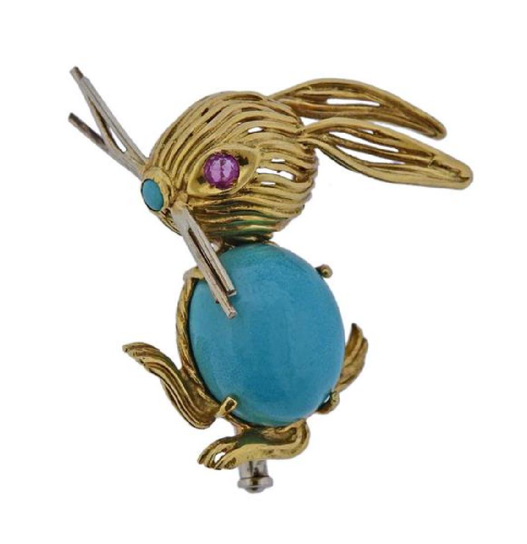 5aa0c7f3e Cartier 18K Gold Turquoise Red Stone Rabbit Brooch Pin - Mar 05, 2019 |  Hampton Estate Auction in PA