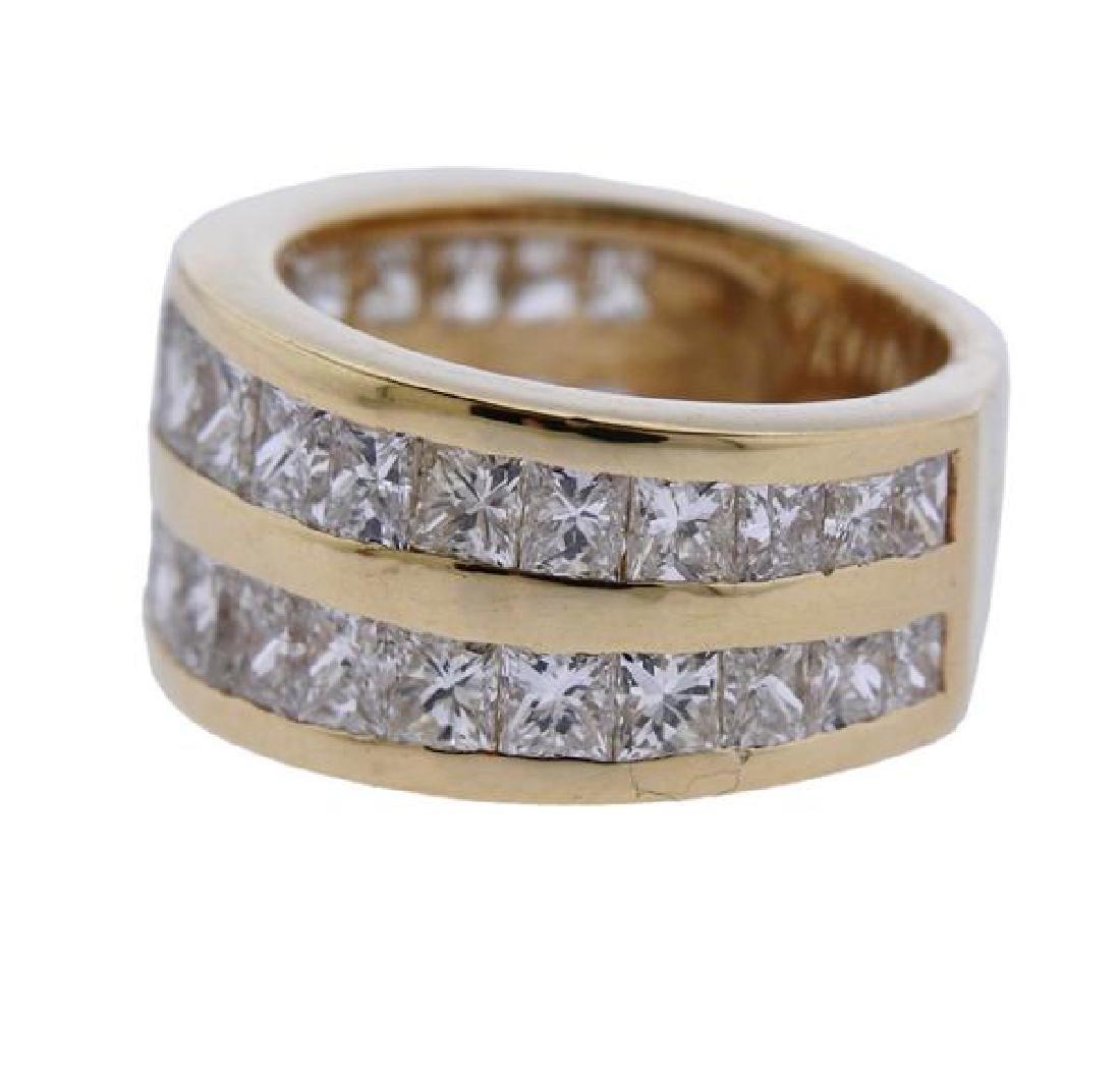 14K Gold Princess Cut Diamond Two Row Band Ring - 2