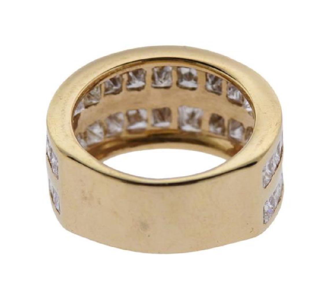 14K Gold Princess Cut Diamond Two Row Band Ring - 3