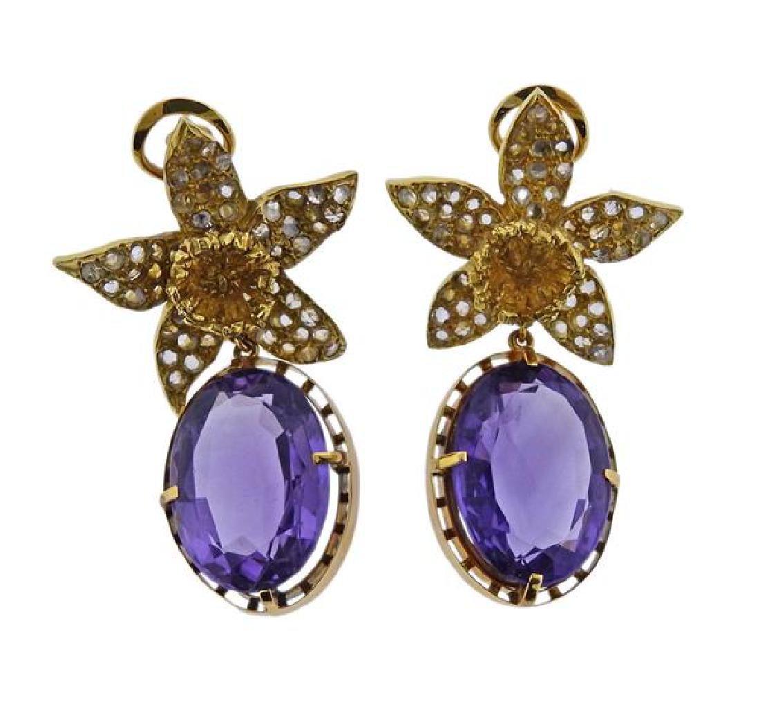 18k Gold Diamond Amethyst Flower Earrings