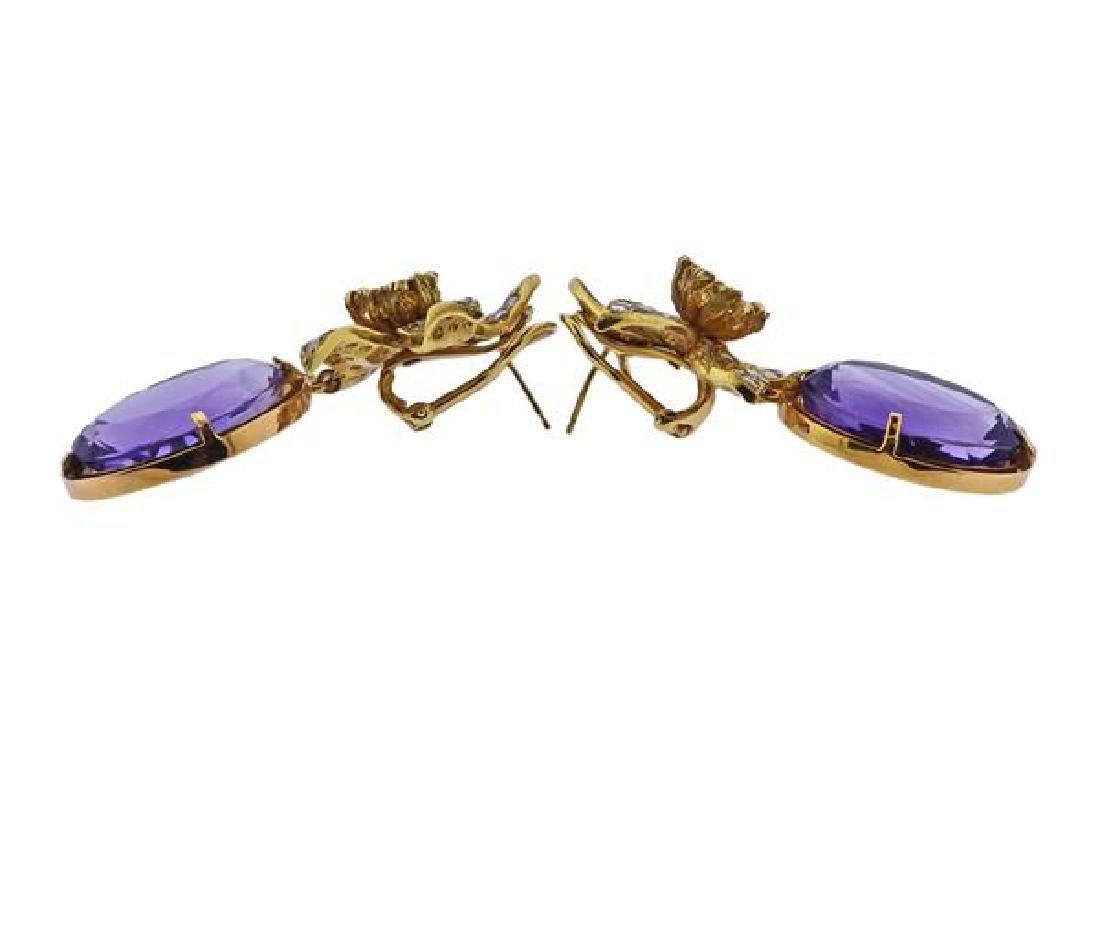 18k Gold Diamond Amethyst Flower Earrings - 2