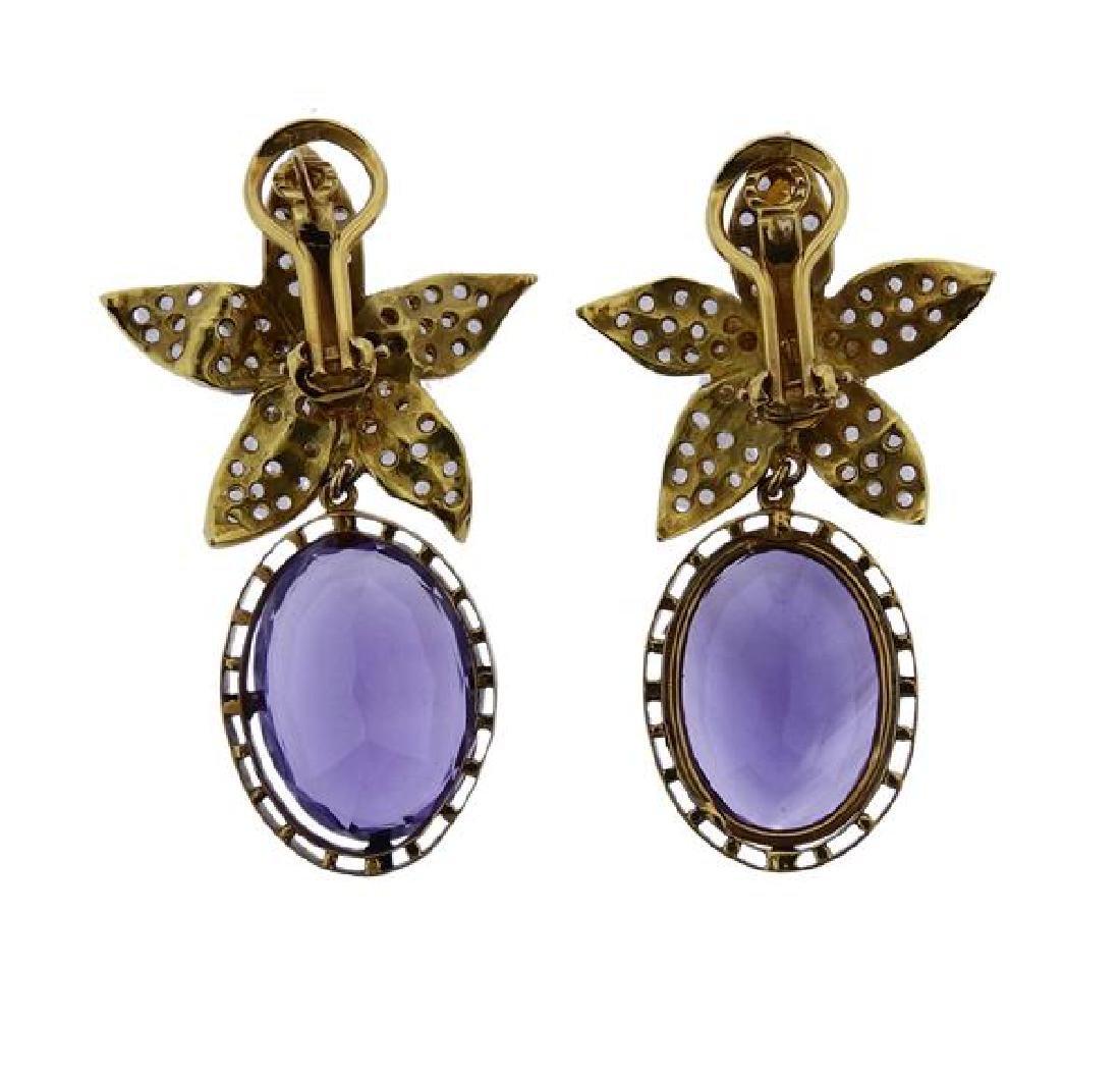 18k Gold Diamond Amethyst Flower Earrings - 3
