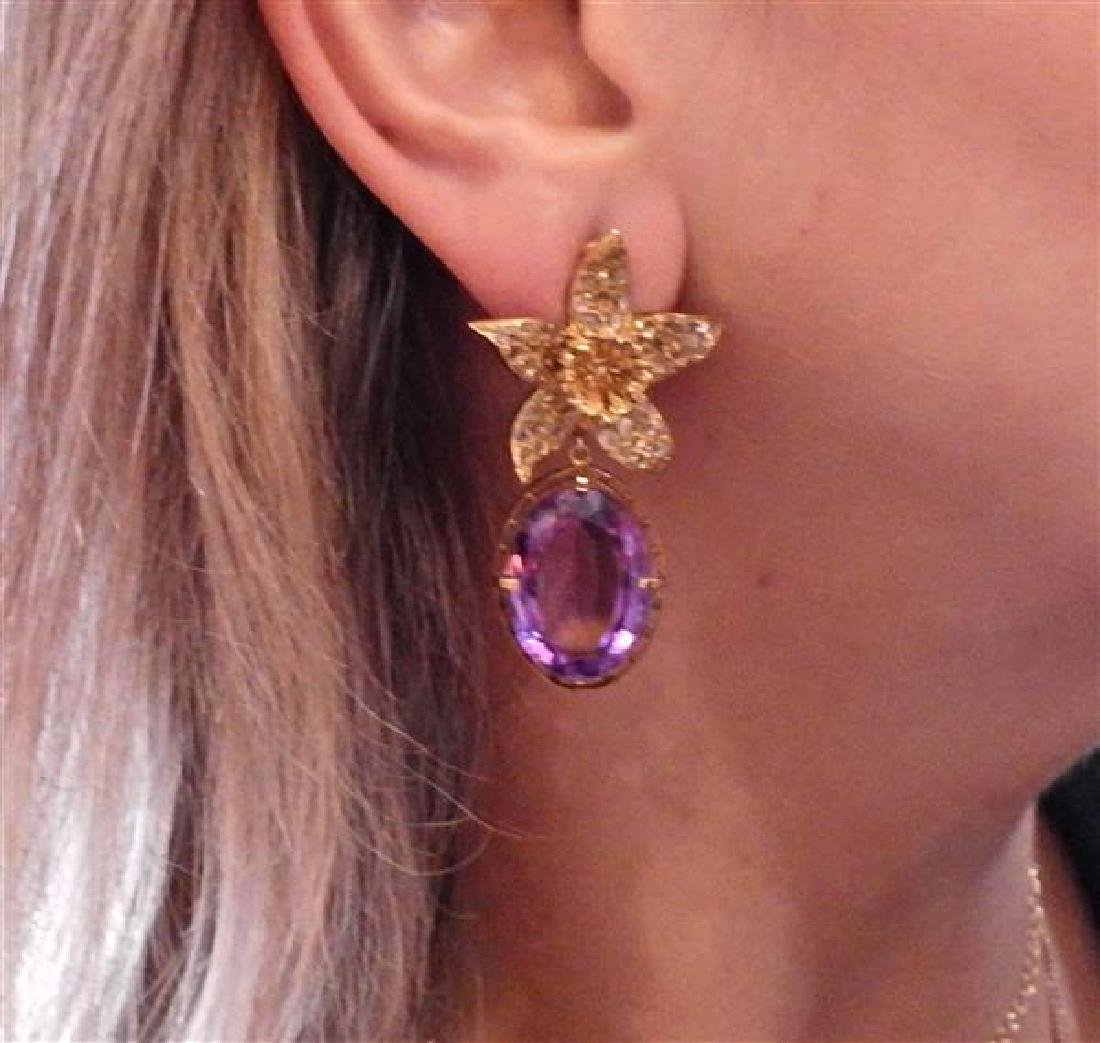 18k Gold Diamond Amethyst Flower Earrings - 4