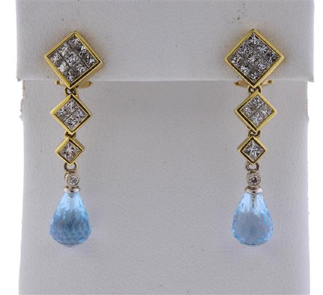 18k Gold Diamond Topaz Drop Earrings