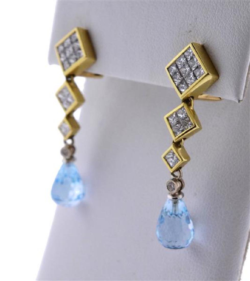 18k Gold Diamond Topaz Drop Earrings - 2