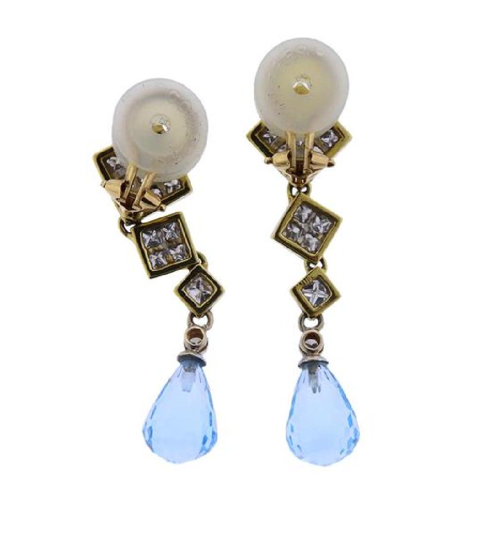 18k Gold Diamond Topaz Drop Earrings - 3