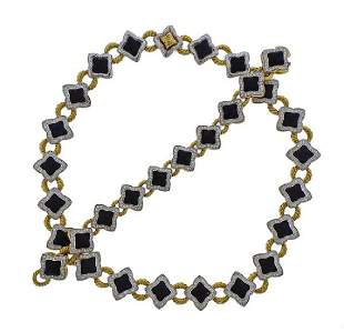 David Yurman Quatrefoil 18k Gold Diamond Onyx Bracelet