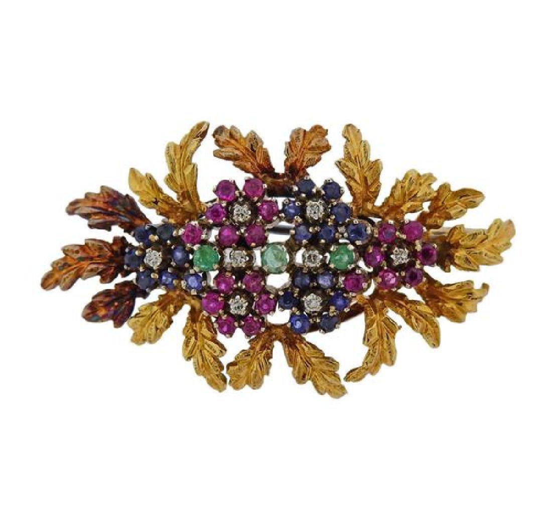 18k Gold Diamond Sapphire Ruby Emerald Brooch Pin