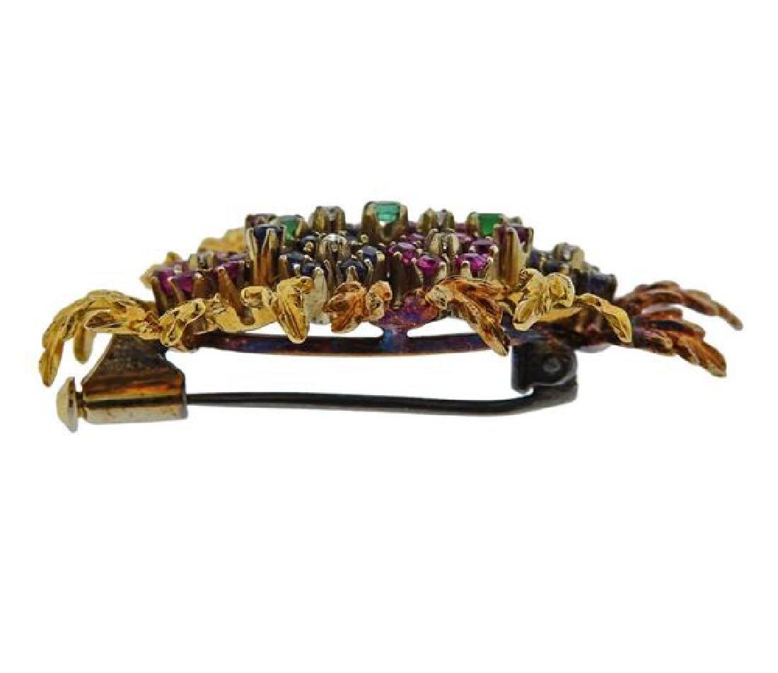 18k Gold Diamond Sapphire Ruby Emerald Brooch Pin - 2
