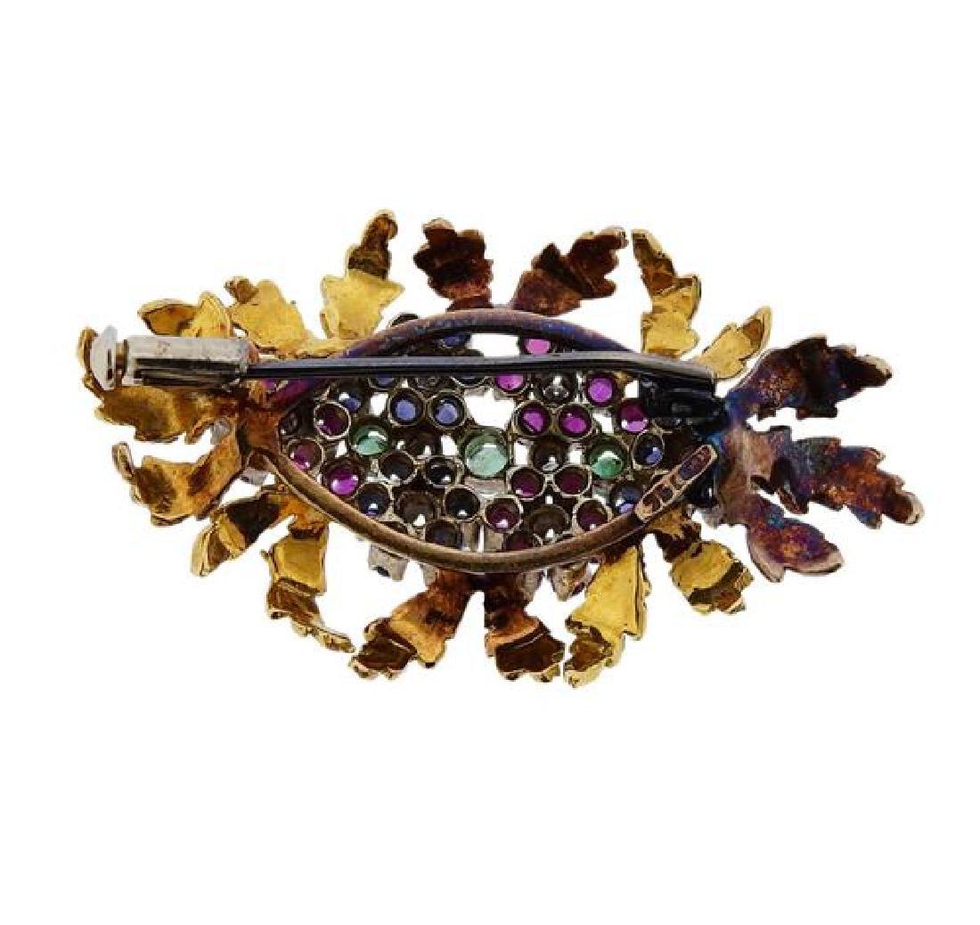 18k Gold Diamond Sapphire Ruby Emerald Brooch Pin - 3