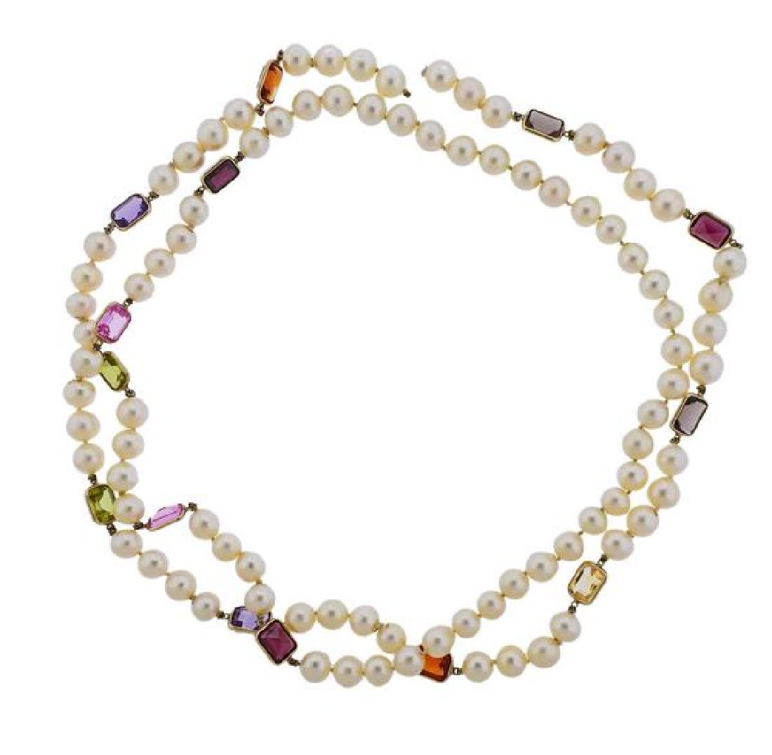 14k Gold Pearl Gemstone Long Necklace