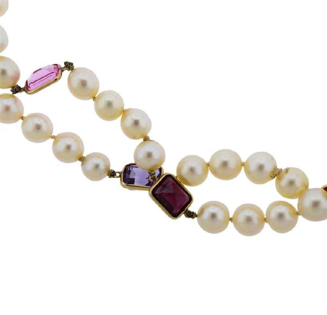 14k Gold Pearl Gemstone Long Necklace - 2