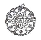French Edwardian Platinum Gold Diamond Pendant Brooch