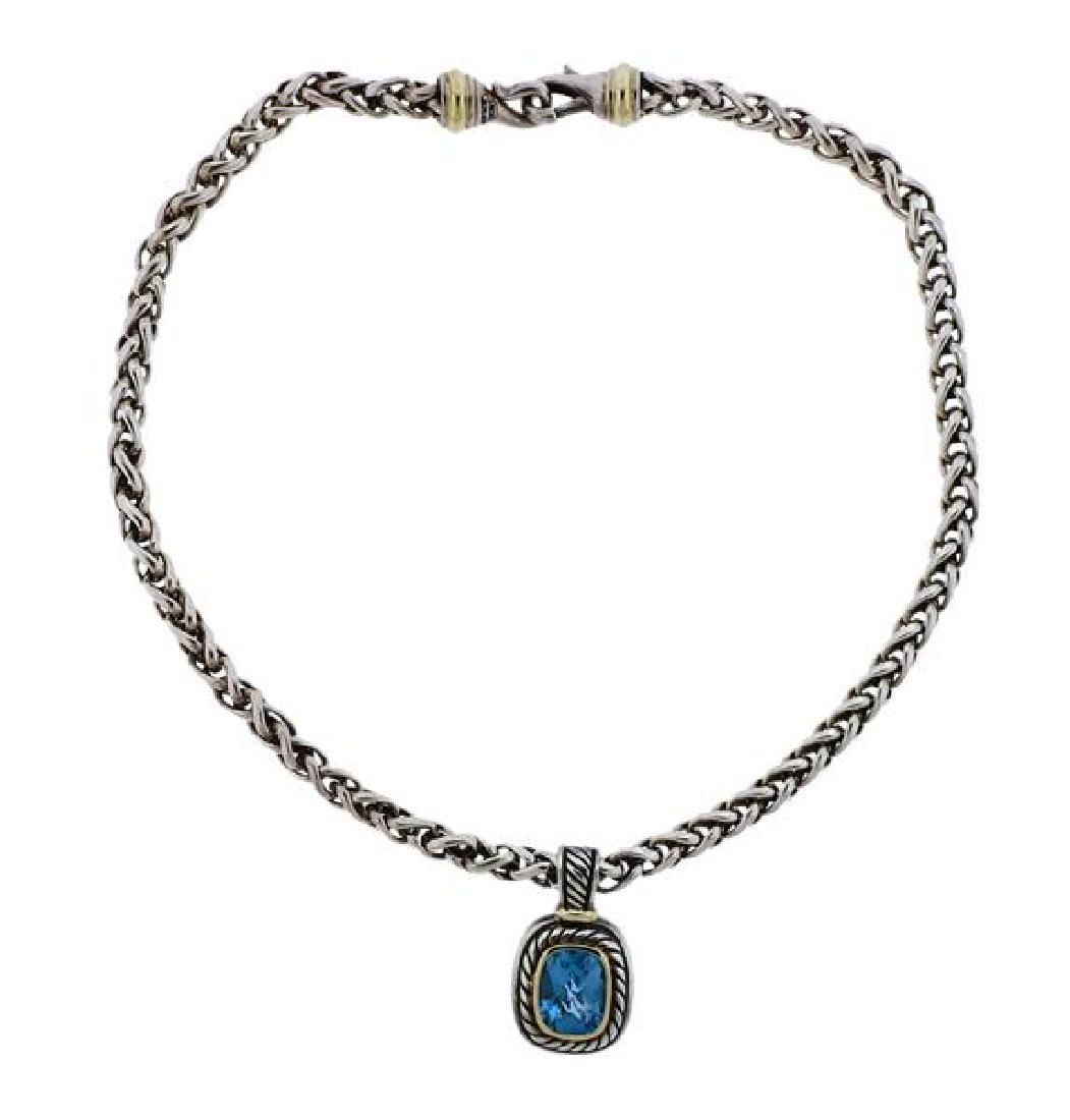 David Yurman Silver 14k Gold Blue Topaz Pendant