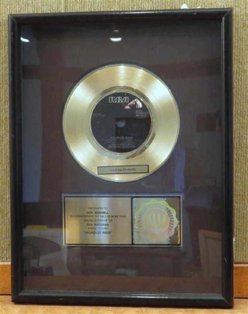Elvis Presley  Jaillhouse Rock Gold Record  Sales Awad