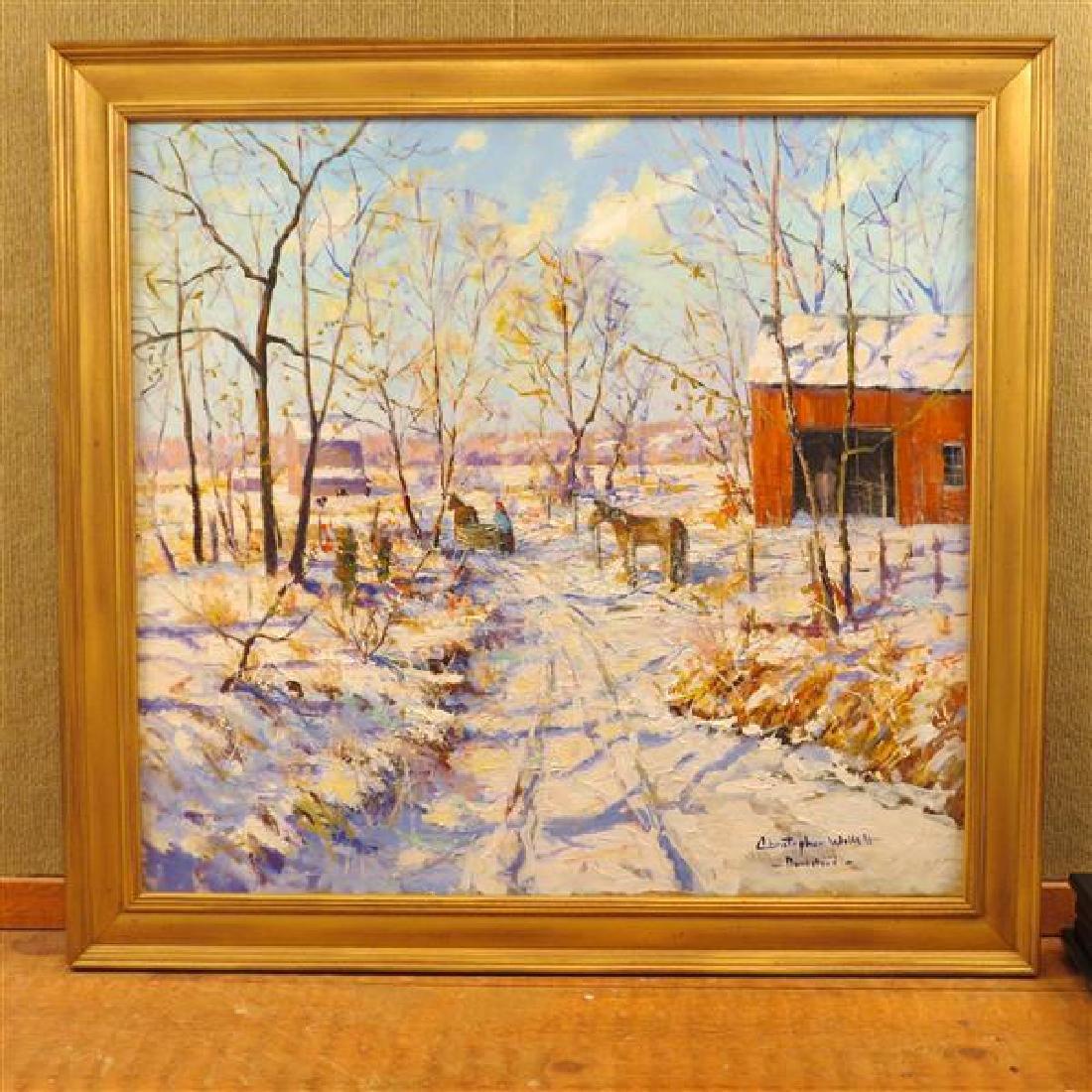 Christopher Willett Oil on Canvas Winter Scene