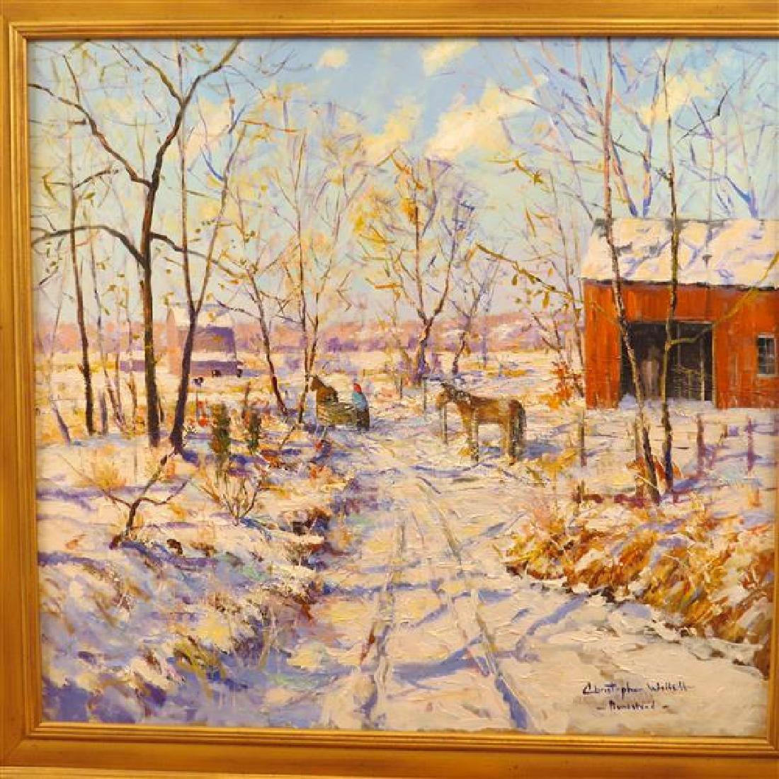 Christopher Willett Oil on Canvas Winter Scene - 2