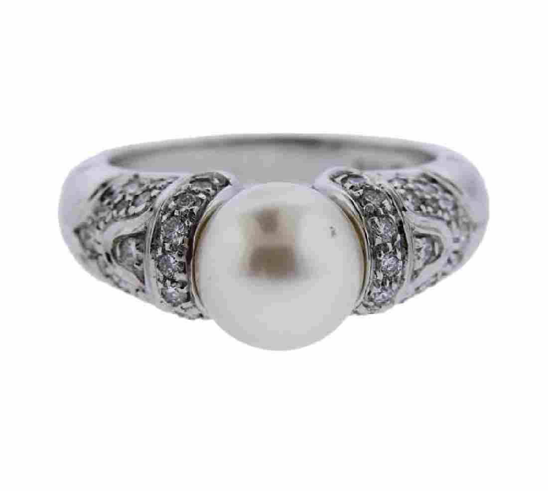 Bvlgari Bulgari 18k Gold Diamond Pearl Ring